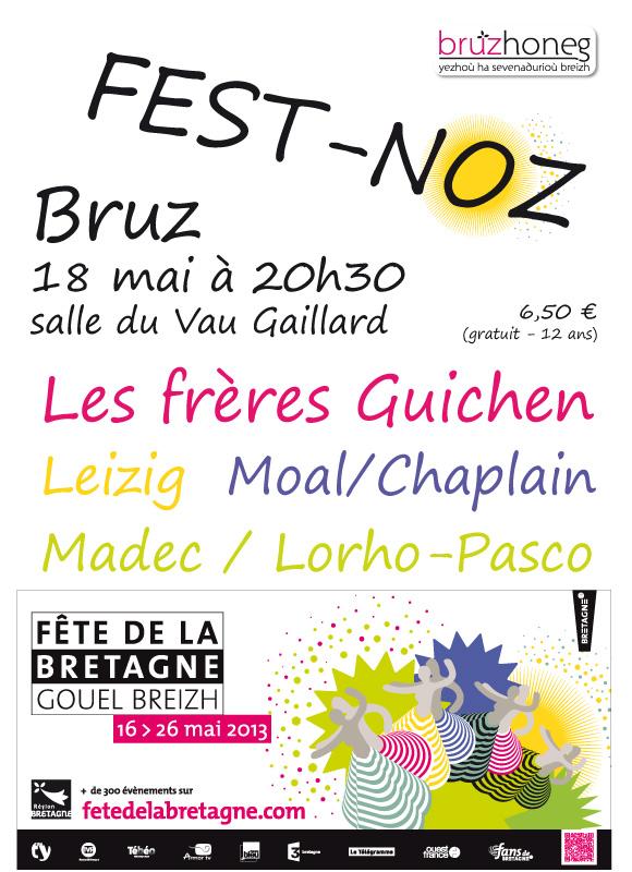 affiche du fest-noz du 18 mai 2013 à Bruz