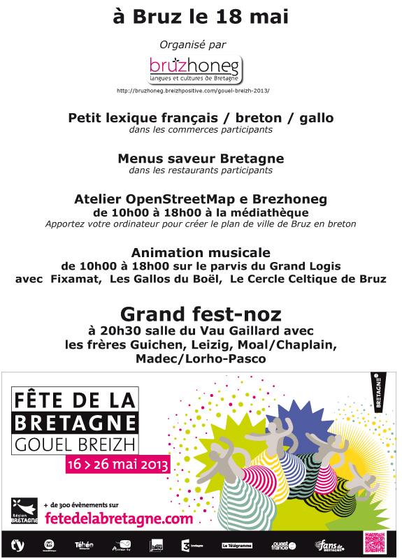 affiche du programme de la fête de la Bretagne 2013 à Bruz